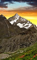 Weisshorn in the sunset -  Pennine Alps, Switzerland.