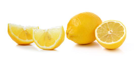 Fresh slice lemon on white background