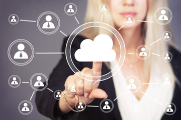 Businesswoman pushing button web cloud message icon