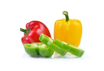 Bell pepper sliced isolated on white background