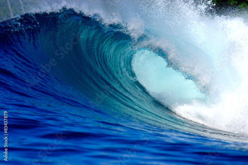Blue ocean surfing wave Poster