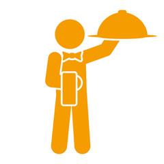 Icono aislado camarero naranja