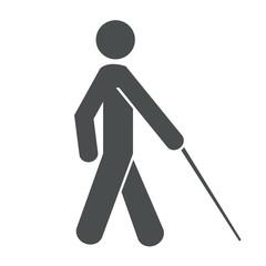Icono aislado ciego gris
