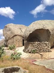 shelter in the rock in gallura, sardinia. italy