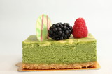 fruit and greentea cheese  pastries  cakes and slices of cakes poster