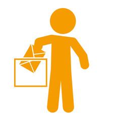Icono aislado voto naranja