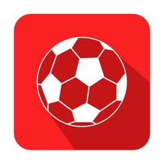 Icono cuadrado futbol con sombra rojo