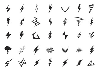 Set of isolated vector lightning icons