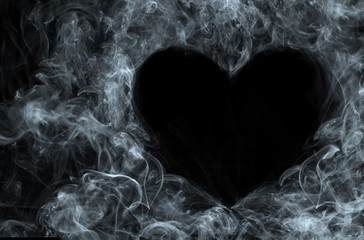 Smoke on Black background. Heart.