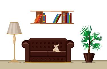 Vector living room flat illustration