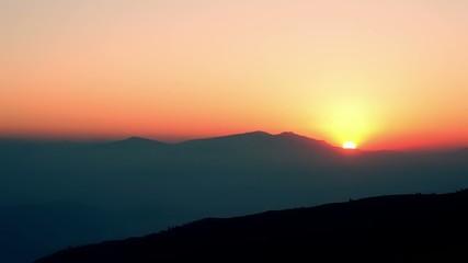 Beautiful sunrise in nagarkot, nepal.