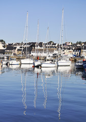 Boats in harbor in Concarneau, France