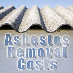 Asbestos removal concept image in square composition