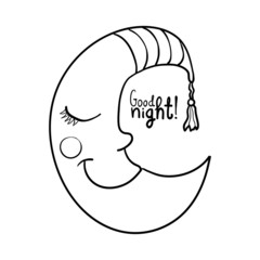 Cartoon sleeping moon in striped nightcap