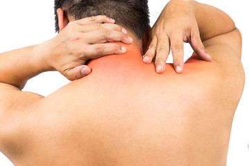 Matured man with neck and shoulder pain