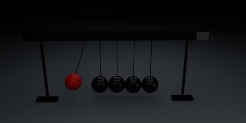 Black swinging spheres suspended on cradle
