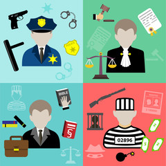 Vector law and justice flat style icons