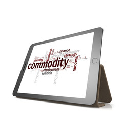 Commodity word cloud on tablet