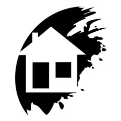 Illustration of home icons, house silhouettes on black backgroun