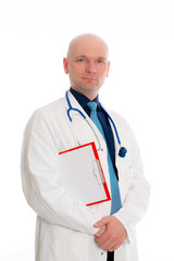 friendly young doctor with clipboard