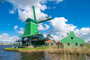 Zaanse Schans, Netherlands. Beautiful landscape with ancient win
