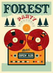 Vintage open air forest party poster. Vector illustration.