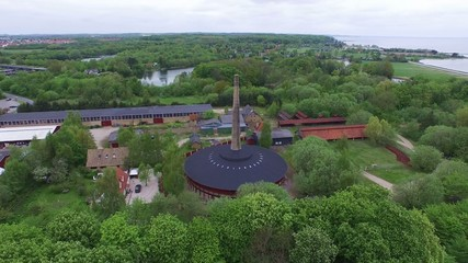 Aerial view of the Hoffmann kiln located in Nivaa, Denmark