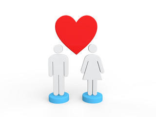 3d man and woman with heart