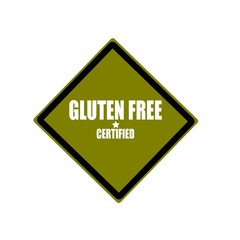 Certified Gluten Free white stamp text on green background