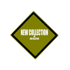 New collection white stamp text on green background