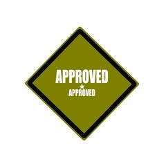 approved white stamp text on green background