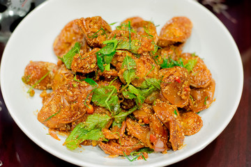 spicy sour fish sausage salad