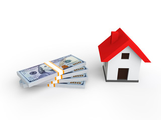 3d render of money and house