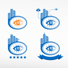 Human eye icon city background.
