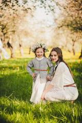 Bride and a little girl