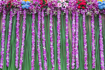 Beautiful Orchid and flower wedding background decoration