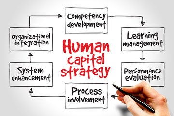 Human capital strategy mind map, business concept