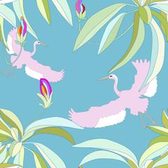 Flying cranes in the flowering garden,, seamless wallpaper