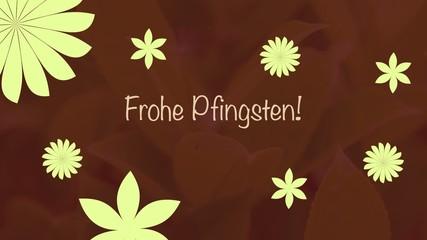 Frohe Pfingsten Schriftzug mit Blumen