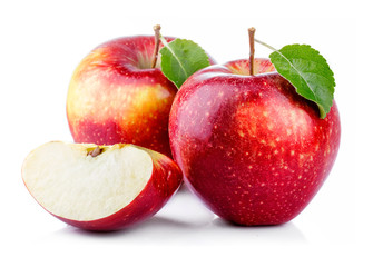 Red apples with leaf and slice isolated on a white