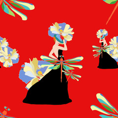 Women floral clothing collection,  abstract ornament