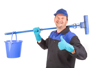 Man holding broom and bucket