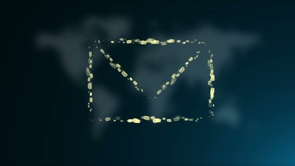 Animated e-mail icon on the background blurred world map