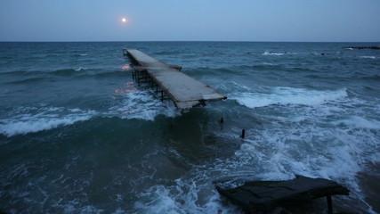 Full Moon Night, Ruined Pier and Sea (Bulgaria).