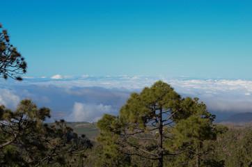 вид с гор на облака на острове тенерифе