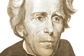 Portrait of former U.S. President Andrew Jackson on the twenty d