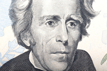 Portrait of former U.S. President Andrew Jackson on the twenty d