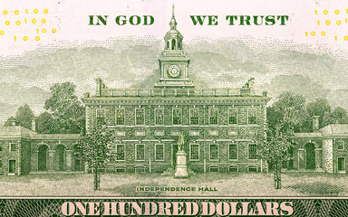 Independence hall on a dollar bill. Toned