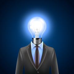 Lamp-head businessman, idea concept vector