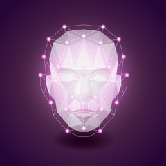 Polygonal face on dark vector background